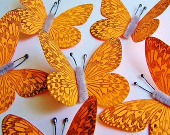 Tangerine/ Pewter Vintage style art nouveau Butterflies - wedding, wrap, craft, supply, holiday, handmade, whimsical, party, decor