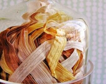 Chocolate Caramel Fondant stripe pearl shimmer ribbon woven trim - elegant and silky embellishment craft wrap wedding supply - 5 yards