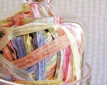 Pastelle Fondant stripe pearl shimmer ribbon woven trim - elegant and silky embellishment craft wrap wedding supply - 5 yards