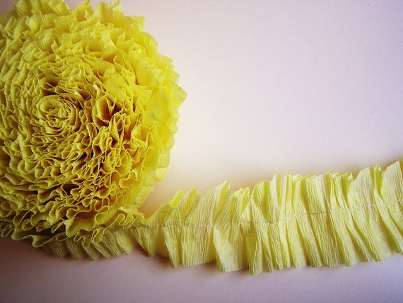 Lemon Meringue Ruffled Crepe Garland/ Trim - for gift wrapping, altered art, scrapbooking, decorating, weddings, party supply, holiday