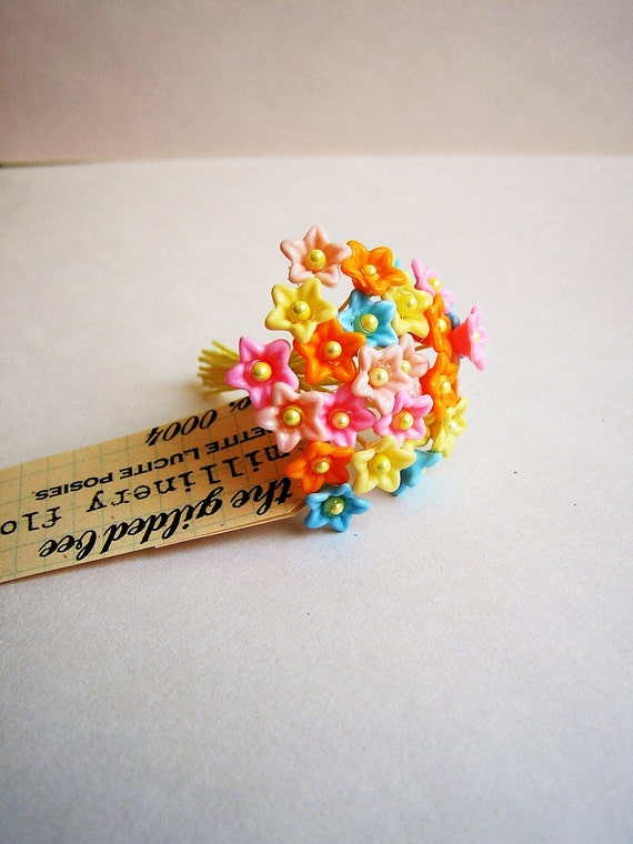 Mixed bunch Petite Lucite forget me nots Vintage style handmade Millinery Flower Bouquet
