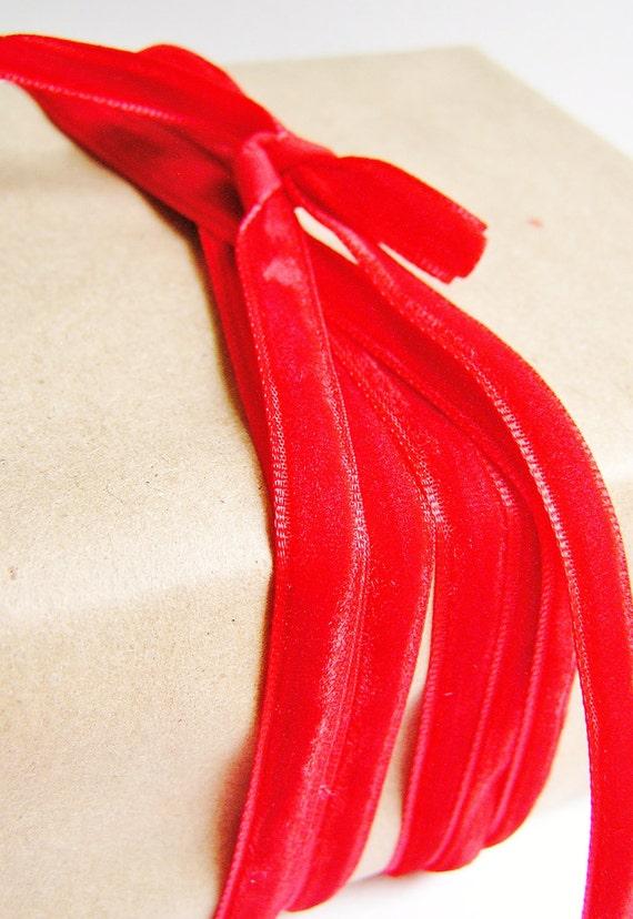 Maraschino cherry red luxe Velvet ribbon trim -3 yd.'s
