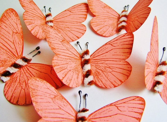 Apricot/ Foxy brown and cream Twist Vintage style classic Butterflies