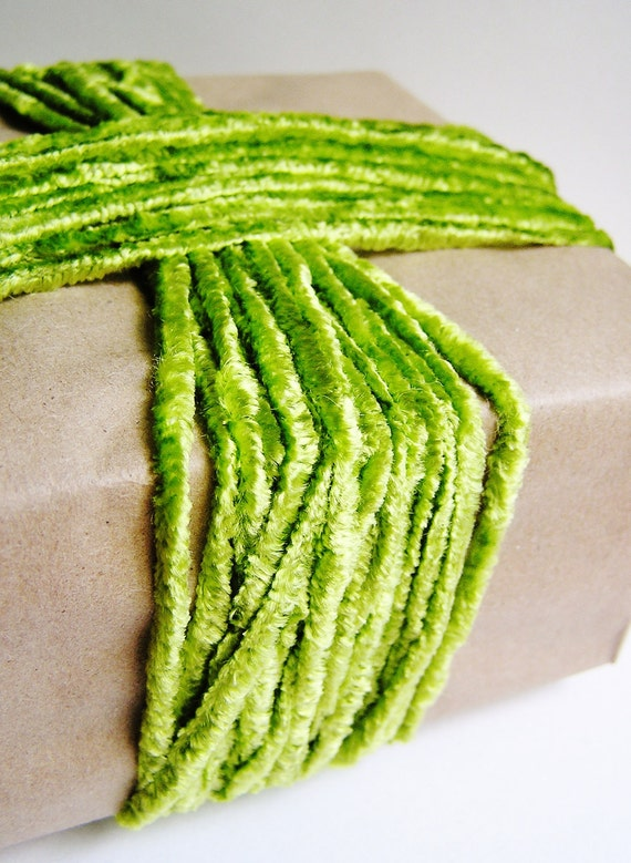 Lime green crushed velveteen slim ribbon luxe vintage style rayon velvet trim fabulous embellishment and wrap supply - 3 yards
