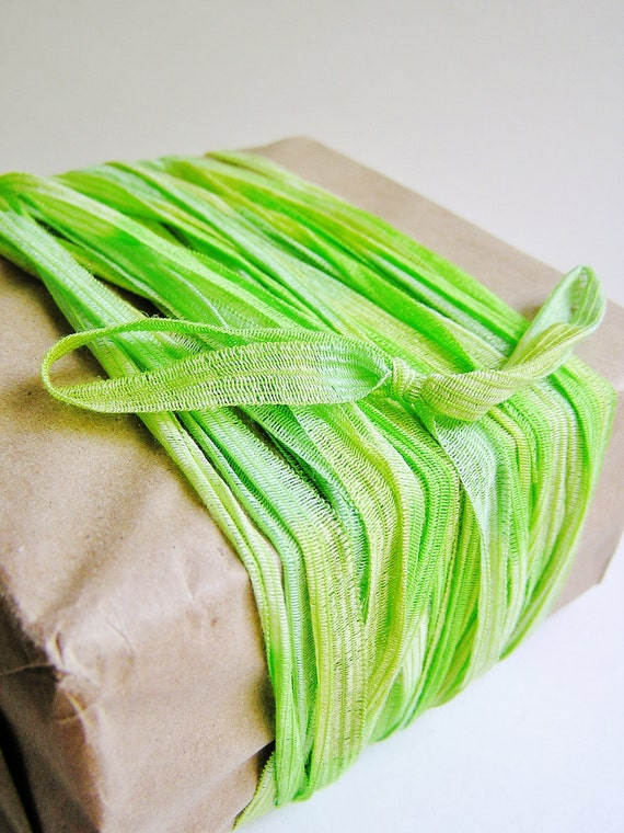 Pistachio and Lime green Pinstripe Ribbon striped tee trim lovely embellishment wedding wrap craft supply - 5 yards