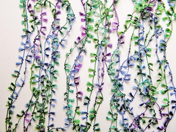 Emerald Violet Rosemary and Periwinkle Blue tiny tassel trim lovely fringe ribbon embellishment - wedding, wrap, craft, supply - 3 yards