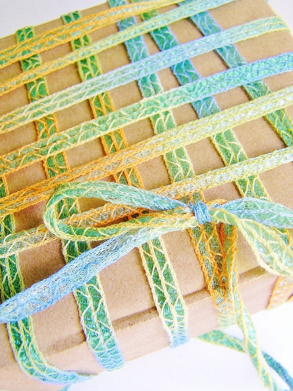 Saltwater taffy Tiki woven shimmer stripe ribbon trim - fun bright novelty embellishment craft wrap wedding supply - 5 yards