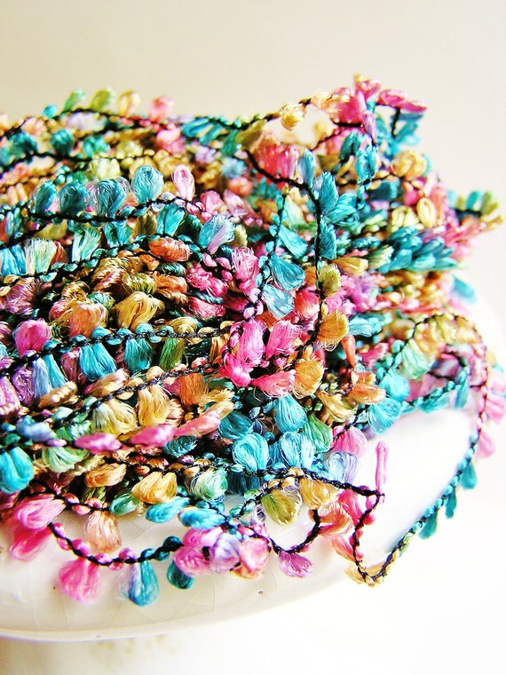 Confectionery Madeline tassel trim lovely fringe rayon ribbon embellishment - luxe, wedding, wrap, craft, supply - 3 yards