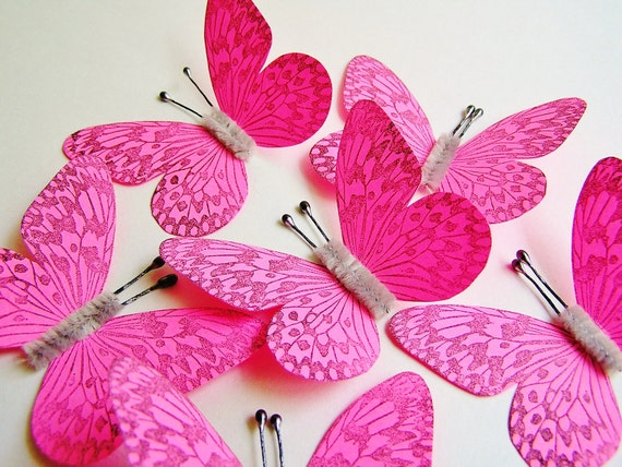Bright Pink/ Pewter Vintage style art nouveau Butterflies - wedding, wrap, craft, supply, holiday, handmade, whimsical, party, decor