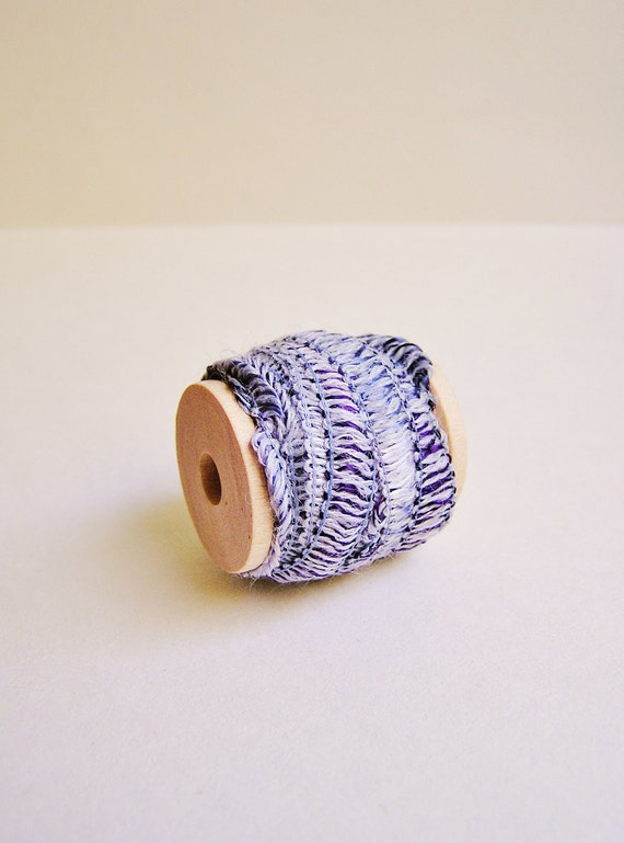Violet Palest Lilac Tapestry trim wood spool - lovely woven ribbon embellishment - wedding, wrap, craft, supply - 5 yards