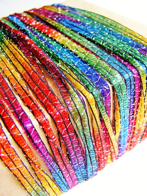 Rainbow tinsel striped zig shimmer ribbon by