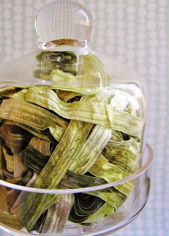 Mint Green Tea Fondant stripe pearl shimmer ribbon woven trim - elegant and silky embellishment craft wrap wedding supply - 5 yards