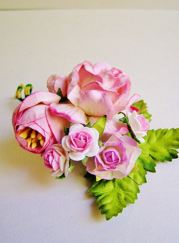 Blush Pink Roses Mixed bunch Vintage style Millinery Flower spray/ Bouquet- corsage, holiday wrap, floral shabby chic