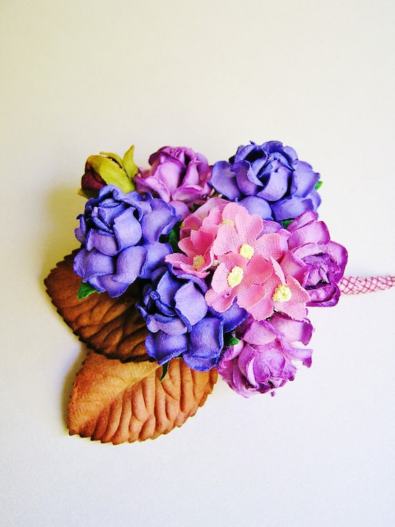Concorde and Plum purple pink Roses Mixed bunch Vintage style Millinery Flower spray/ Bouquet- corsage, holiday wrap, floral shabby chic