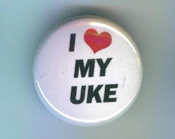 I Heart My Uke 1 inch Pinback Button