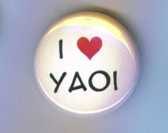 I Heart Yaoi 1 Inch Pinback Button