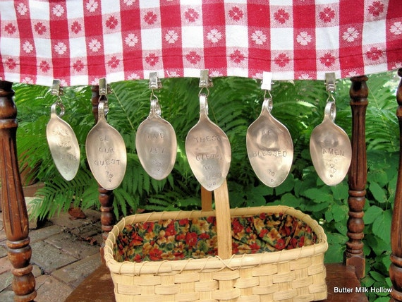 PICNIC TABLE CLOTH  WEIGHTS.  VINTAGE SILVERSPOONS.  SET OF SIX.