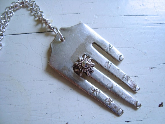 Nails And Knuckles Necklace.  Vintage Fork Upcycled.