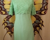 Vintage Formal Lime Green Embroidered Flower Lace Chiffon Mini Cocktail Dress