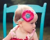 Baby Headband, Hot Pink Headband, Turquoise Headband, Flower Headband, Baby Girl Headband, Newborn Headbands, Hair Clip