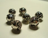 Bali silver round beads with sun/stars and circles (7)