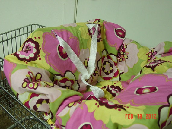 Pink/burgundy floral baby shopping cart cover/ high chair cover