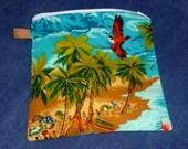 Reusable Sandwich Bag - Hawaii - Zip Close Wet Bag - Waterproof - Food Safe