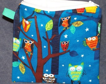 Owl Party - Reusable Snack Bag or Sandwich Bag Zipper Waterproof Bag Small Wet Bag Reusable Food Storage Bag Kids Reusable School Lunch Bag