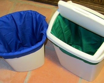 Wastebasket Liners - Cloth Trash Can Liners for Cloth Napkins or Reusable Paper Towels - Set of Two - pick your colors