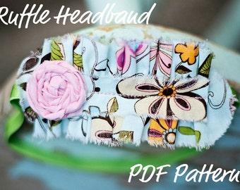 Ruffle Headband Pattern INSTANT DOWNLOAD- How To PDF Includes bonus Rosette Flower
