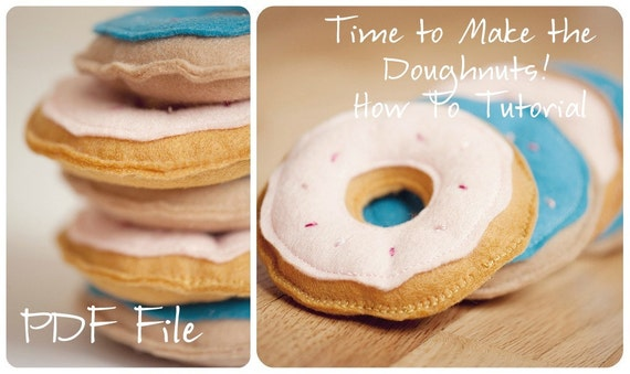 DIY Felt Doughnut Tutorial- Pattern and Instructions Downloads INSTANTLY