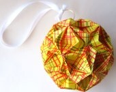 Origami Ornament - Large Yellow Geometric Lines