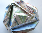 Bronx Brocade Origami Ornament - Bus Map Upcycled - Sale