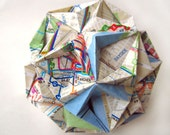 Queens Stars Origami Ornament - Bus Map Upcycled
