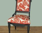 SALE Duralee Aviary Linen Eastlake Vintage Chair