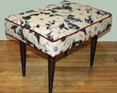 Vintage White Flower Tapestry Footstool with Red Piping