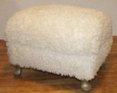 Ivory Poodle Fur Plush Champagne Gold Antique Footstool