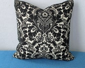 SALE Black and Off White Italian Damask Brocade 15 inch Pillow Cover