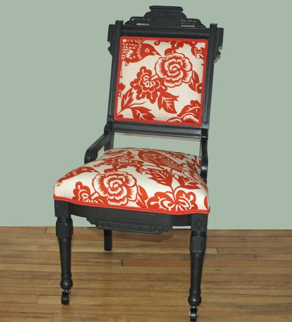 SALE Duralee Aviary Linen Eastlake Vintage Chair