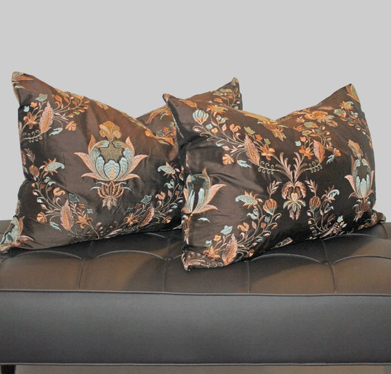 SALE Pair of 16 x 24 Chocolate Brown Floral Medallion  Silk Embroidered Pillow Covers