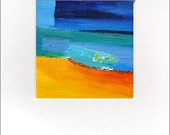 Oil Painting Abstract Original  in an A4 Off White Matte...Titled: Point Casey