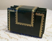 1960s 1970s Vintage Leather Covered Playing Cards Holder Italy