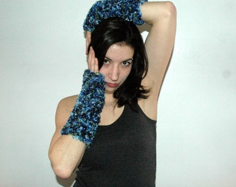 SALE-Teal Mix Fingerless Gloves