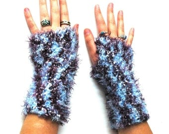 Purple and Blue Fingerless Gloves