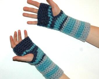 Shades Of Blue Fingerless Gloves