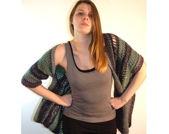 Striped Teal and Purple One Sleeved Shawl
