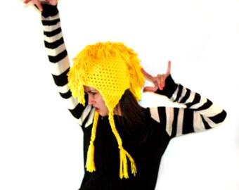 Yellow MoHawk EarFlap Hat