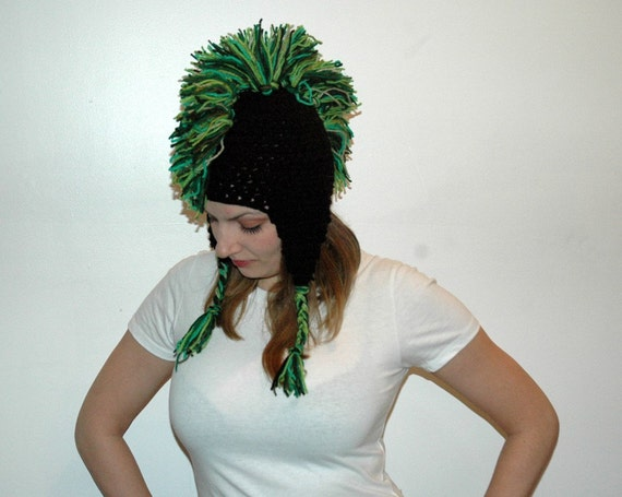 Green and Black Mohawk  Ear Flap Hat