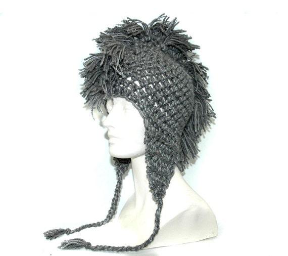 Grey Mohawk EarFlap Hat