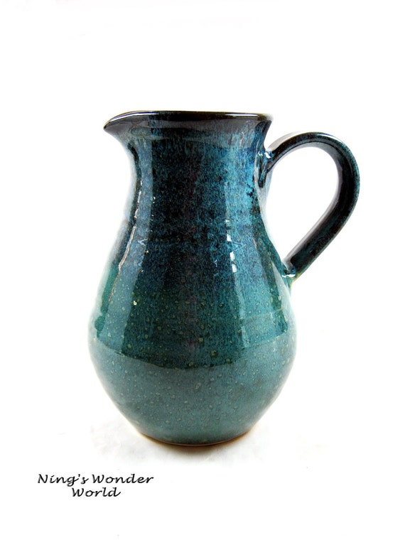 Flower Vase Pitcher, pottery pitcher, water jug, in teal, turquoise color- in stock